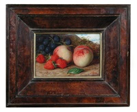 study of apples and cobnuts; and study of apples, grapes, and strawberries (pair) by william j. (webbe) webb