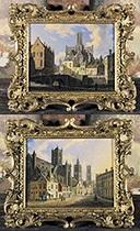 gezicht op de kuip van gent (+ gezicht op de sint-baafskathedraal: koorzijde te gent; 2 works) by augustus wijnantz