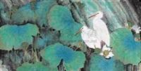 荷塘双鹭 by lin decai