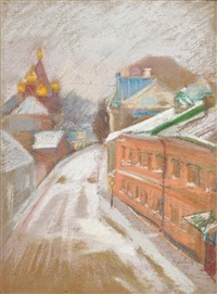 a moscow street in winter by serguei ivanovitch lobanoff