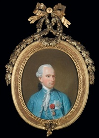 portrait of a nobleman wearing a blue coat and waistcoat, and various chivalric orders (count maredleme?) by johann heinrich schmidt