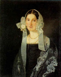 portræt af en dame i sort kjole med `kyse med slojfer og bånd by morten thrane brünnich