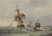 a dutch barge, early steam and the two ages of sail and in the channel (3 works) by frederick james aldridge