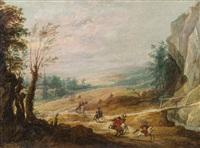 weite landschaft mit reitern, im hintergrund ein dorf by joos de momper the younger