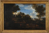 a mountainous landscape with travellers in the foreground, grecian temple beyond and a distant view to a river and town by johannes lingelbach