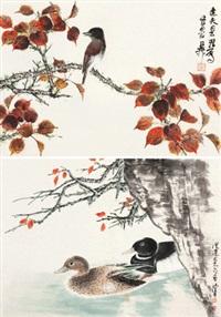 红叶栖禽 春江水暖 (二幅) 镜片 设色纸本 (2 works) by xie zhiliu and chen peiqiu