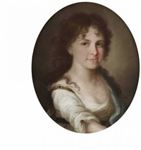 portrait einer jungen frau und eines jungen herren (rosalie und ernst von lüttwitz?) (2 works) by johann lorenz kreul