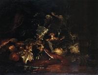 wiesel im unterholz neben pilzen by niccolino van houbraken