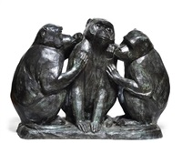 trois singes assis by hold