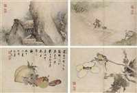 figures, birds and flowers by gu yuan