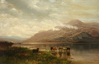 cows watering beside a cloud covered mountain by arthur parton
