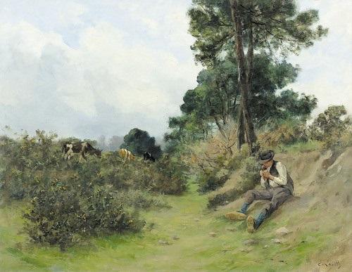 landschaft mit sitzendem hirten by eugène labitte