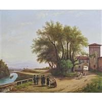 paesaggio fluviale con figure by massimo d' azeglio