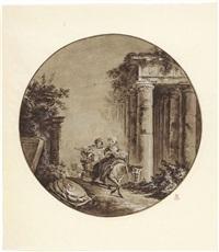 paesaggio con rovine e figure by hubert robert