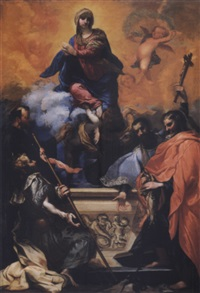 the assumption of the virgin with saints jacobus,a franciscan, ignatius, francis xavier (or john nepomuk) and andrew by clemente bocciardo (il clementone)