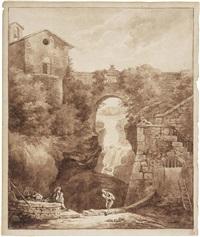 la grande cascata di tivoli by hubert robert