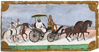 a ruler out riding in a horse-drawn carriage with two retainers, armed officers on horseback riding alongside by muhammad amir