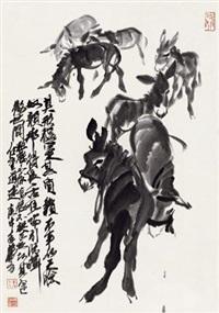 七驴图 立轴 纸本 by huang zhou