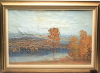 autumnal scene with river and rolling hills by gustave adolph wiegand