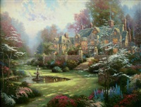 garden beyond spring gate by thomas kinkade