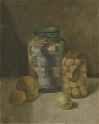still life with pots and fruit (+ a park near a church, drawing; 2 works) by bart peizel