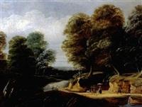 flusslandschaft mit wanderern und reisigsammlern by philippe van dapels