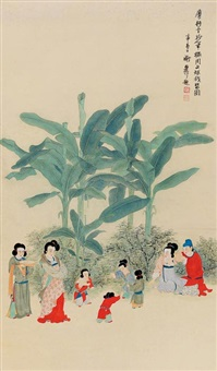 women and children in the garden by xie zhiliu and mi gengyun