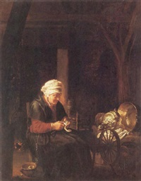 an old lady peeling a lemon in an interior by pieter van den bos
