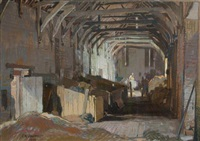 the paston barn, norfolk by leonard russel squirrell