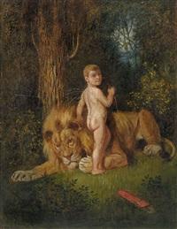 amor bei einem löwen by adolf oberlander