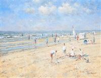 scène de plage avec voiliers by arie van noort