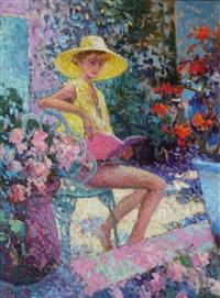 jeune femme en jaune by eugène bégarat