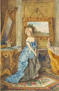dame in eleganter robe in prunkvollem boudoir by giuseppe amadio riva