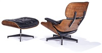 lounge chair and ottoman (2) (model nos. 670 (chair), 671 (ottoman)) by charles and ray eames