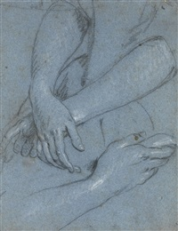 recto: study of a woman's hands folded and a study of a woman's right hand, verso: study of a woman's hands folded and a study of a hand holding a tricorn hat by sir peter lely