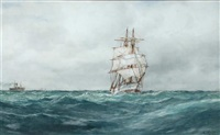 a mid channel schooner on the high seas by frederick james aldridge