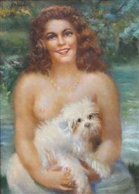 ritratto di donna con cagnolino by giuseppe maldarelli