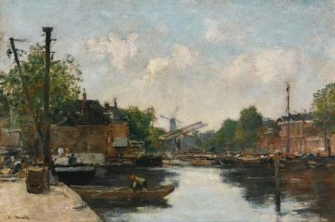 canal a rotterdam by eugène boudin