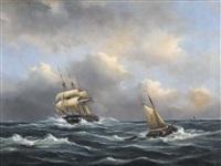 segelschiffe auf stürmischer see by govert van emmerik