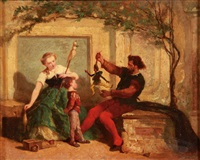 puppeteer performing for a young boy and a woman making thread by victor nehlig