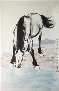 饮马图 (horse drinking water) by xu beihong