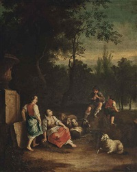 an wooded landscape with a shepherd and his flock conversing by a stone urn by francesco londonio