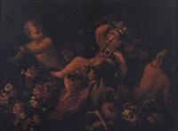tre piccoli satiri ed una capra tra ghirlande di fiori by nicola vaccaro