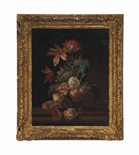 roses, poppies, a tulip and other flowers in a glass vase on a ledge by simon pietersz verelst