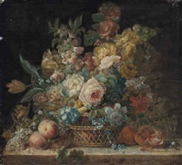 roses, convolvulus, parrot tulips and other flowers in a wicker basket, with grapes, peaches and a pomegranate on a stone ledge by cornelis van spaendonck