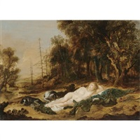diana resting after the hunt (collab. w/ aert van der neer) by peter coode