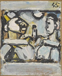 polichinelle et pierrot by georges rouault