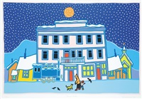 carcross winter by ted harrison