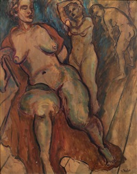 nudes (study) (+ sketch, verso) by meier akselrod