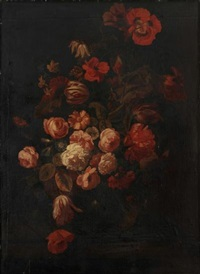a still life of summer flowers in a crystal vase, including, poppies, anemones, tulips and butterflies, all on a wooden ledge by simon pietersz verelst